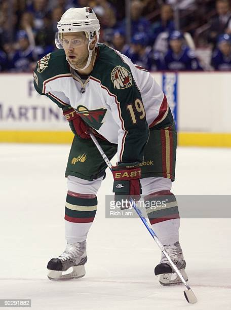 Andy Hilbert of the Minnesota Wild lines up for a faceoff during the NHL game against the Vancouver Canucks on October 17 2009 at General Motors...