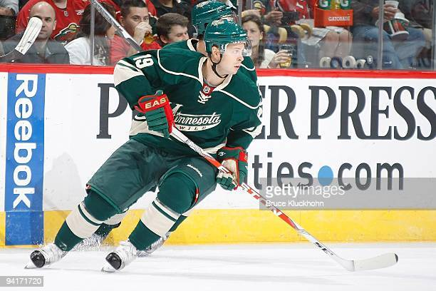 Andy Hilbert of the Minnesota Wild skates against the Carolina Hurricanes during the game at the Xcel Energy Center on October 24 2009 in Saint Paul...
