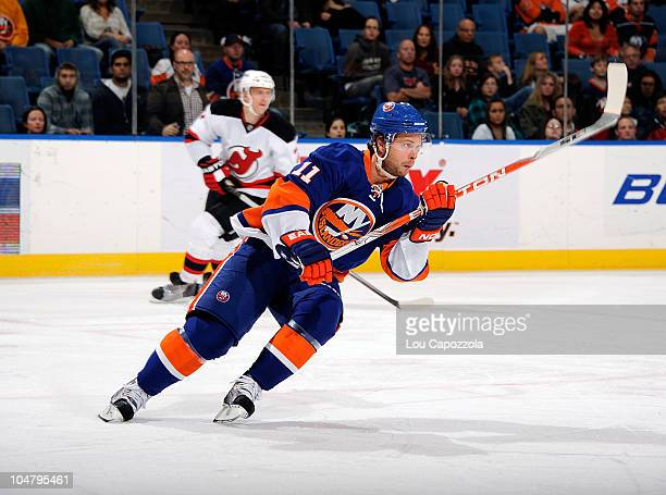 Andy Hilbert of the New York Islanders in action during a game against the New Jersey Devils at Nassau Veterans Memorial Coliseum on October 2 2010...