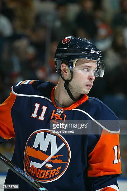 Andy Hilbert of the New York Islanders looks on during the NHL game against the Ottawa Senators at the Nassau Coliseum on November 28 2007 in...