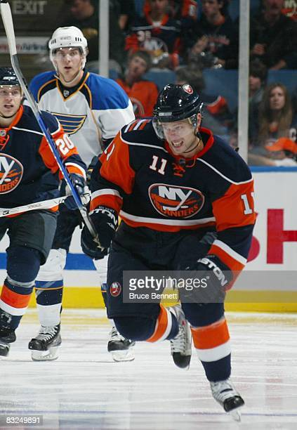 Andy Hilbert of the New York Islanders skates against the St Louis Blues on October 11 2008 at the Nassau Coliseum in Uniondale New York The...