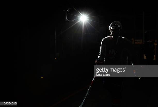 Andy Hilbert of the New York Islanders walks off the ice during a a traing camp session on September 21 2010 at Nassau Coliseum in Uniondale