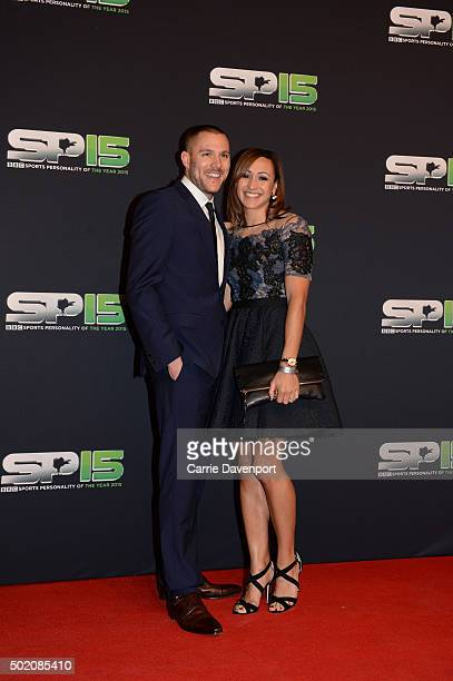 Andy Hill and Jessica EnnisHill on the red carpet at Titanic Building before the BBC Sports Personality of the Year award at Odyssey Arena on...