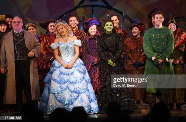 Andy Hockley Helen Woolf Nikki Bentley and Alistair Brammer bow at the curtain call as hit musical Wicked celebrates 13 years at London's Apollo...