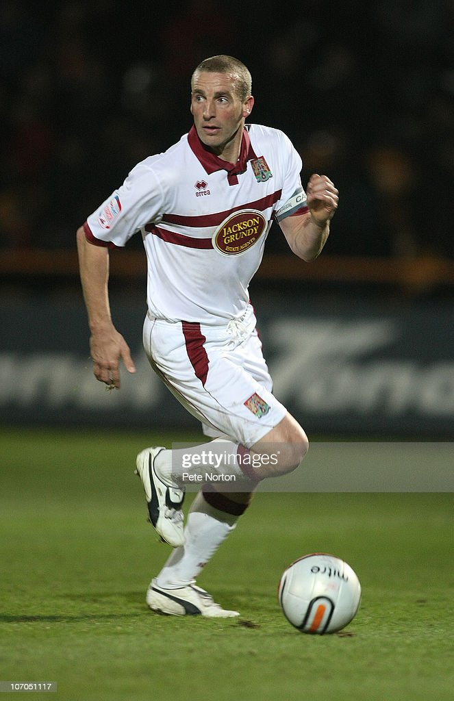 Andy Holt of Northampton Town in action during the npower League Two match between Barnet and Northampton Town at Underhill Stadium on November 20, 2010 in Barnet, England