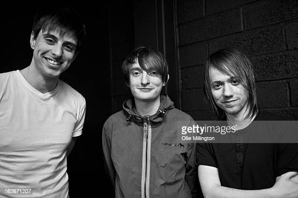 Andy Hopkins Tom Clarke and Liam Watts of The Enemy poses for a photograph backstage at o2 Academy on February 25 2013 in Leicester England