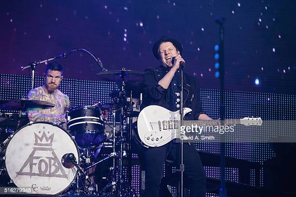 Andy Hurley and Patrick Stump of Fall Out Boy perform at BJCC on March 17 2016 in Birmingham Alabama