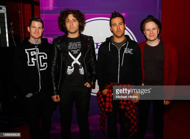 Andy Hurley Joe Trohman Pete Wentz and Patrick Stump of Fall Out Boy appear before Yahoo On The Road at Majestic Theatre on May 13 2013 in Madison...