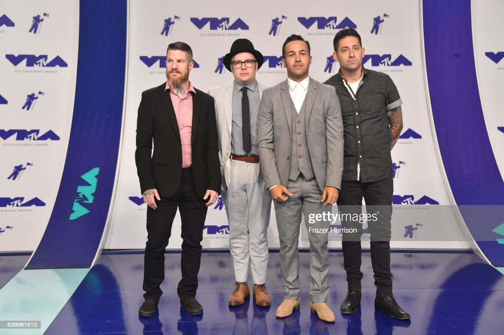 Andy Hurley, Patrick Stump, Pete Wentz and Joe Trohman of Fall Out Boy attend the 2017 MTV Video Music Awards at The Forum on August 27, 2017 in Inglewood, California.