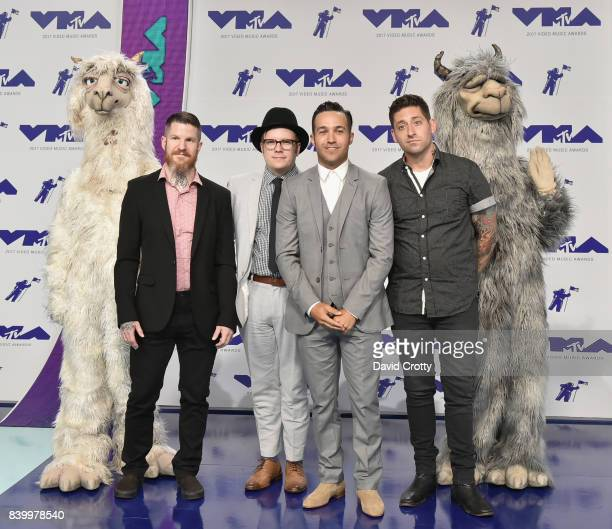 Andy Hurley Patrick Stump Pete Wentz and Joe Trohman of musical group Fallout Boy attend the 2017 MTV Video Music Awards at The Forum on August 27...