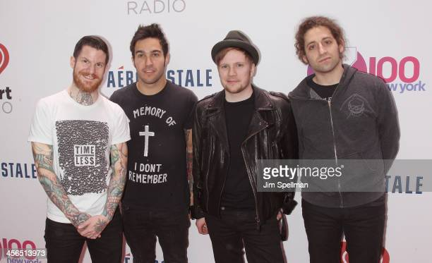 Andy Hurley Pete Wentz Patrick Stump and Joe Trohman of Fall out Boy attend Z100's Jingle Ball 2013 at Madison Square Garden on December 13 2013 in...