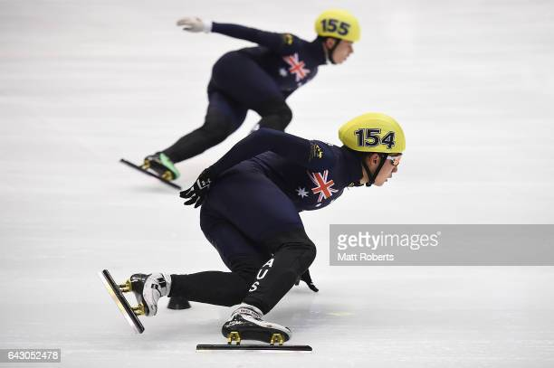 Andy Hyunwoo and Keanu Karjon Blunden of Australia compete in the Men's Short Track Speed Skating 5000 metre relay on day three of the 2017 Sapporo...