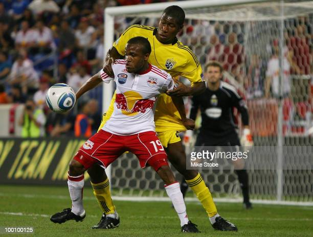 Andy Iro of the Columbus Crew and Dane Richards of the New York Red Bulls battle for the ball on May 20 2010 at Red Bull Arena in Harrison New Jersey