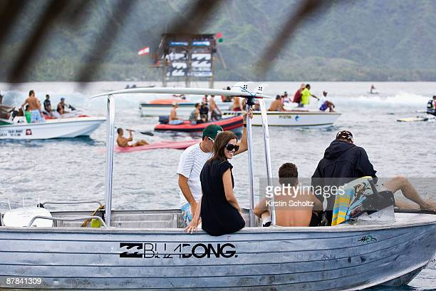 Andy Irons's wife Lyndie Irons is seen supporting her husband Andy during the Billabong Pro Teahupoo on May 18 2009 in Teahupo'o French Polynesia