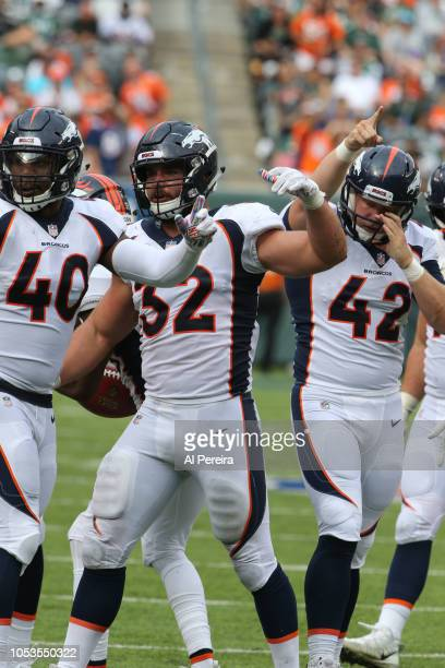 Andy Janovich of the Denver Broncos in action against the New York Jets on October 7 2018 at MetLife Stadium in East Rutherford NJ