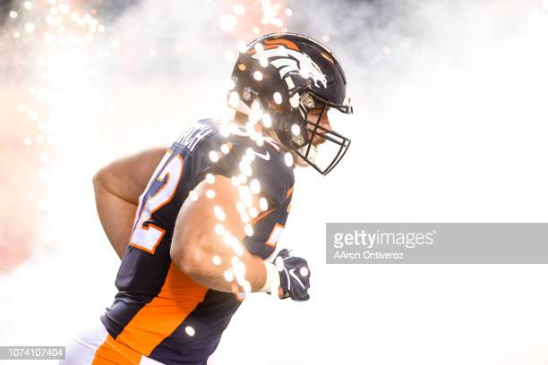 Andy Janovich of the Denver Broncos runs onto the field before the first half against the Cleveland Browns on Saturday December 15 2018