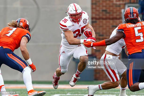 Andy Janovich of the Nebraska Cornhuskers runs the ball against the Illinois Fighting Illini at Memorial Stadium on October 3 2015 in Champaign...