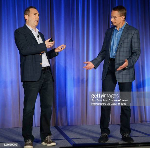 Andy Jassy and VMware CEO Parick P. Gelsinger announce Amazon's cloud service, AWS, partnering with VMware Cloud creating a new integrated cloud...