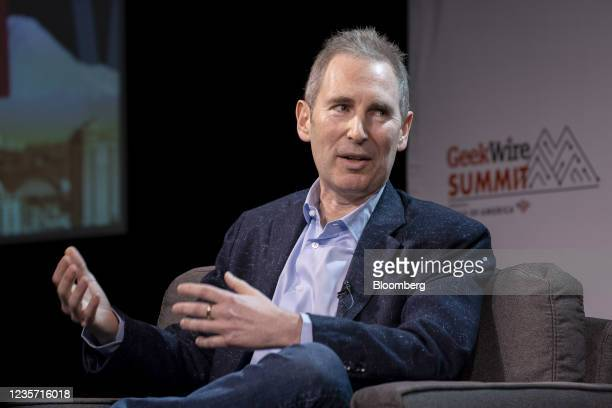 Andy Jassy, chief executive officer of Amazon.Com Inc., speaks during the GeekWire Summit in Seattle, Washington, U.S., on Tuesday, Oct. 5, 2021. The...