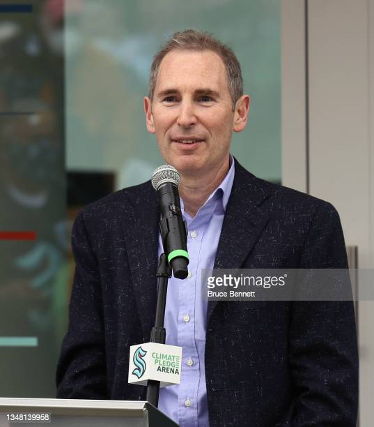 Andy Jassy the CEO of Amazon speaks at the ceremonial ribbon cutting prior to tomorrow's opening night for the NHL's newest hockey franchise the...