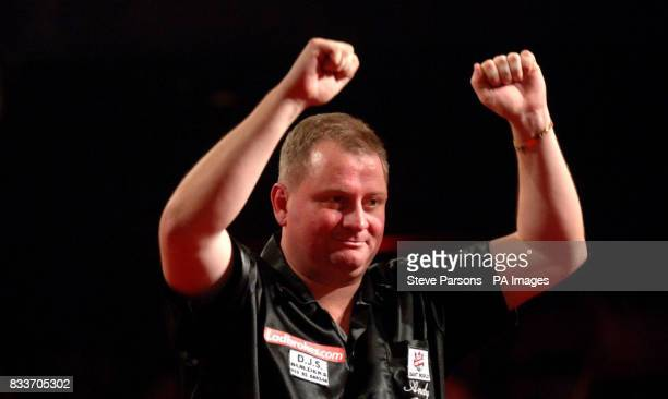Andy Jenkins from Portsmouth wins at the PDC Ladbrokescom World Championships at Purfleet Essex
