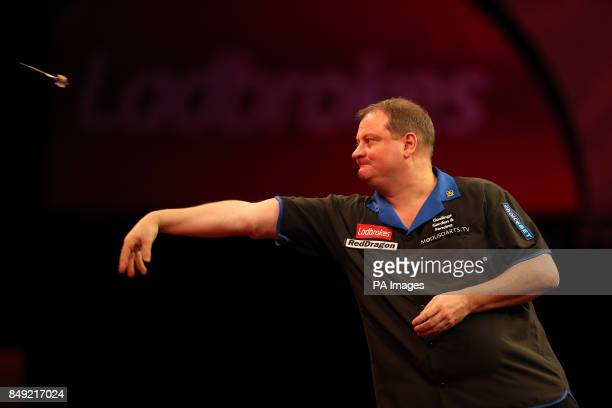 Andy Jenkins in action during the Ladbrokescom World Darts Championship at Alexandra Palace London