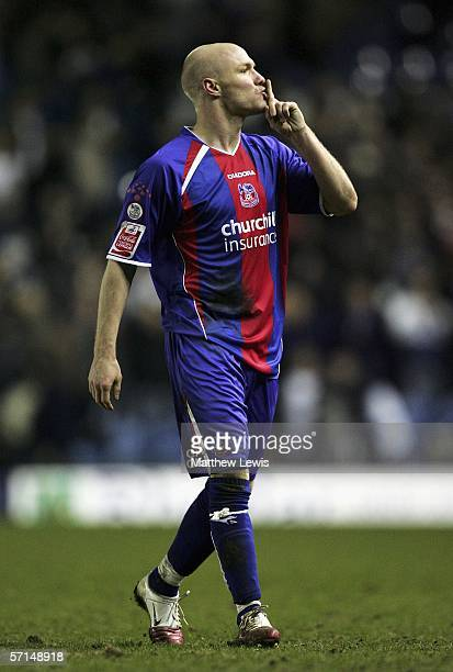 Andy Johnson of Crystal Palace silences the Leeds crowd at the end of the CocaCola Championship match between Leeds United and Crystal Palace at...