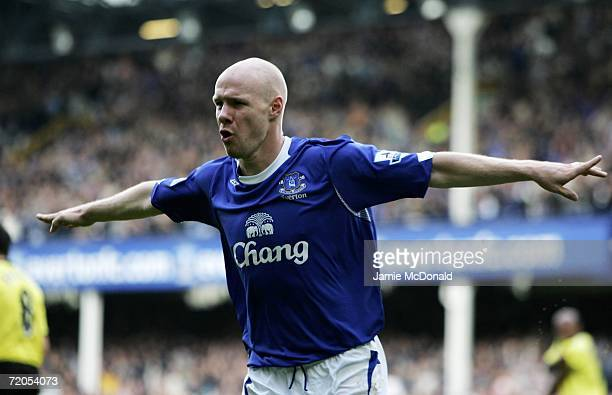 Andy Johnson of Everton celebrates his goal during the Barclays Premiership match between Everton and Manchester City at Goodison Park on September...