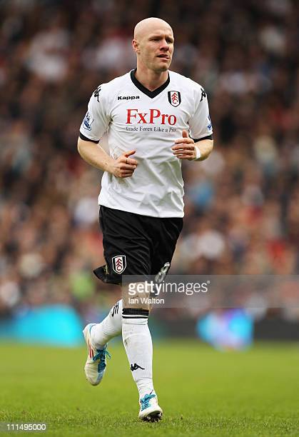 Andy Johnson of Fulham in action during the Barclays Premier League match between Fulham and Blackpool at Craven Cottage on April 3 2011 in London...