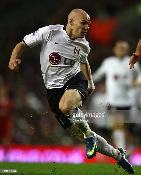 Andy Johnson of Fulham in action during the Barclays Premier League match between Liverpool and Fulham at Anfield on November 22 2008 in Liverpool...