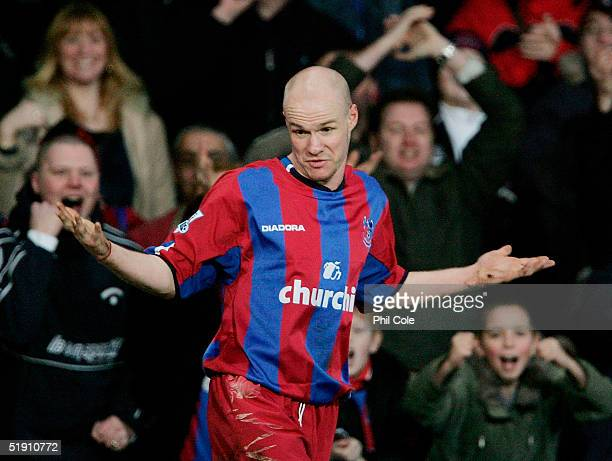 Andy Johnson of Palace celebrates after scoring his second goal from the penalty spot during the Barclays Premiership match between Crystal Palace...