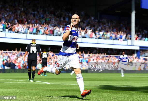 Andy Johnson of Queens Park Rangers celebrates his goal during the Sky Bet Championship match between Queens Park Rangers and Sheffield Wednesday at...