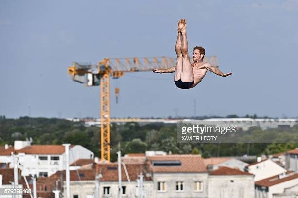Andy Jones from USA dives from the 275 metre high platform on the SaintNicolas tower during the Red Bull Cliff Diving World Series on July 23 2016 in...