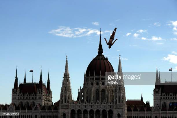 Andy Jones of the United States competes during the Men's High Diving on day seventeen of the Budapest 2017 FINA World Championships on July 30 2017...