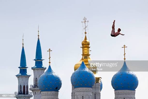 Andy Jones of the United States competes in the Men's 27m High Diving Final on day twelve of the 16th FINA World Championships at the Kanzanka River...