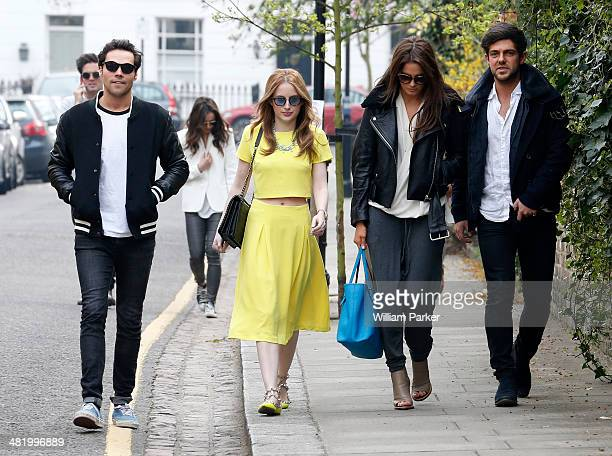 Andy Jordan Rosie Fortescue Alexandra Felstead and Alex Mytton seen filming for Made In Chelsea at The Phene on April 2 2014 in London England