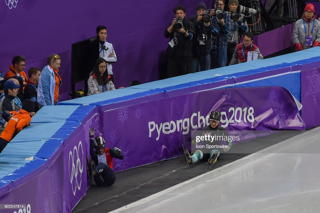 Andy Jung (AUS) and Thibaut Fauconnet (FRA) slide into the barrier during the Men's 500M Heat 1 race during the 2018 Winter Olympic Games at the Gangneung Ice Arena on February 20, 2018 in PyeongChang, South Korea.
