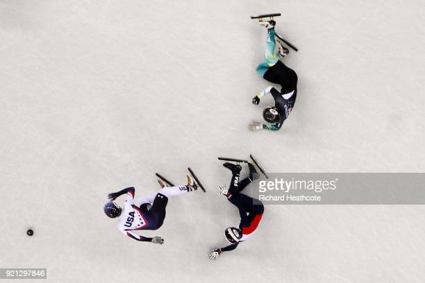 Andy Jung of Australia crashes out during the Men's Short Track Speed Skating 500m Heats on day eleven of the PyeongChang 2018 Winter Olympic Games...
