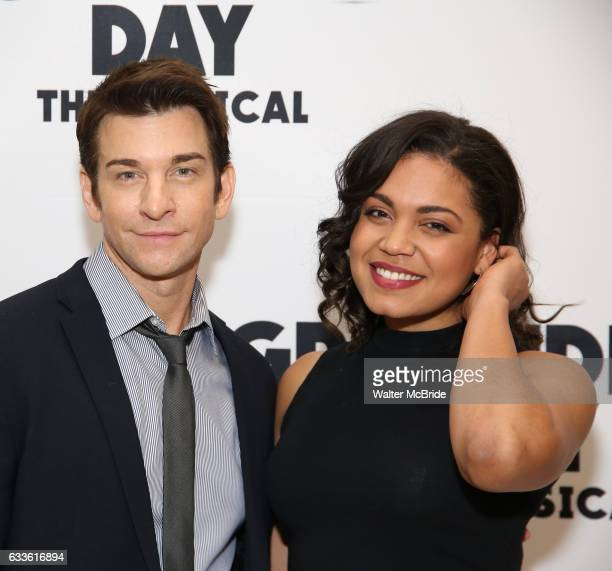 Andy Karl and Barrett Doss attend the Groundhog Day'' press day at The New 42nd Street Studios on February 2 2017 in New York City