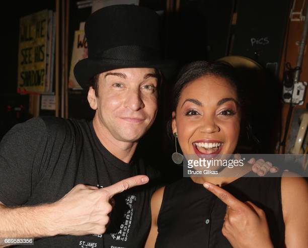 Andy Karl and Barrett Doss pose backstage on the opening night of the new musical based on the film Groundhog Day on Broadway at The August Wilson...
