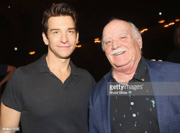 Andy Karl and Brian Doyle Murray pose backstage at the hit musical based on the 1993 Bill Murray film Groundhog Day on Broadway at The August Wilson...