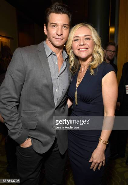 Andy Karl and Rachel Bay Jones attend the 2017 Tony Awards Meet The Nominees Press Junket at the Sofitel New York on May 3 2017 in New York City