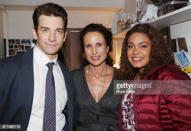 Andy Karl Andie MacDowell and Barrett Doss pose backstage at the hit musical based on the film Groundhog Day on Broadway at The August Wilson Theater...