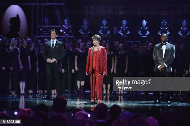 Andy Karl Chita Rivera and Adam J Bernard perform on stage during The Olivier Awards with Mastercard at Royal Albert Hall on April 8 2018 in London...