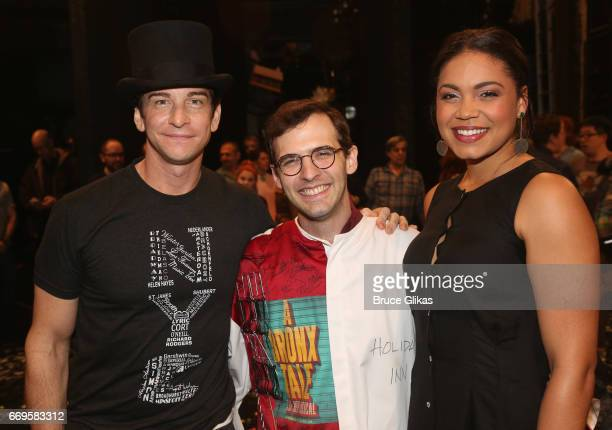 Andy Karl costar of the show and Barrett Doss pose backstage on the opening night of the new musical based on the film Groundhog Day on Broadway at...