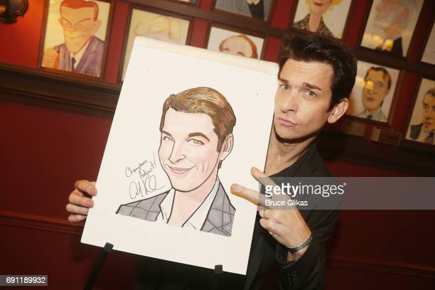 Andy Karl gets honored for his award winning peformance in Groundhog Day with a caricature on the wall at Sardi's on May 31 2017 in New York City