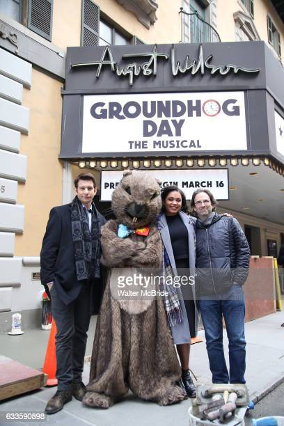 Andy Karl Mr Groundhog Barrett Doss and Danny Rubin visit the Groundhog Day'' opening day box office at The August Wilson Theatre on February 2 2017...