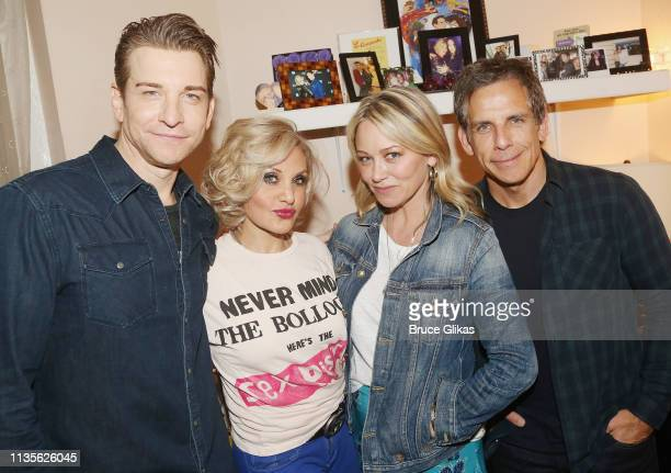 "Andy Karl, Orfeh, Christine Taylor and Ben Stiller pose backstage at the hit musical based on the film ""Pretty Woman:The Musiical"" on Broadway at The..."