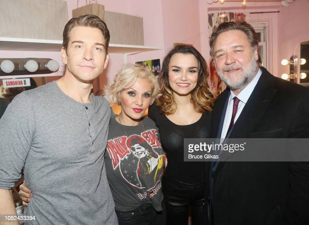 Andy Karl Orfeh Samantha Barks and Russell Crowe pose backstage at the hit musical based on the film 'Pretty Woman' on Broadway at The Nederlander...