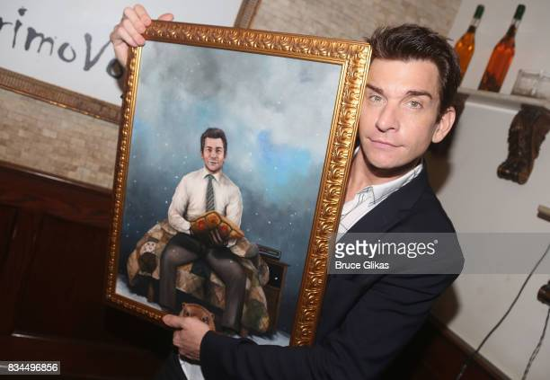 Andy Karl poses at the Broadway Wall of Fame unveiling to honor Andy Karl for his role in 'Groundhog Day' at Tony's di Napoli Restaurant on August 17...